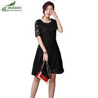 Zomer vrouwen jurk was dunne grote maat losse effen kleur holle korte mouwen lege gat kant jurk hoge taille woord jurk
