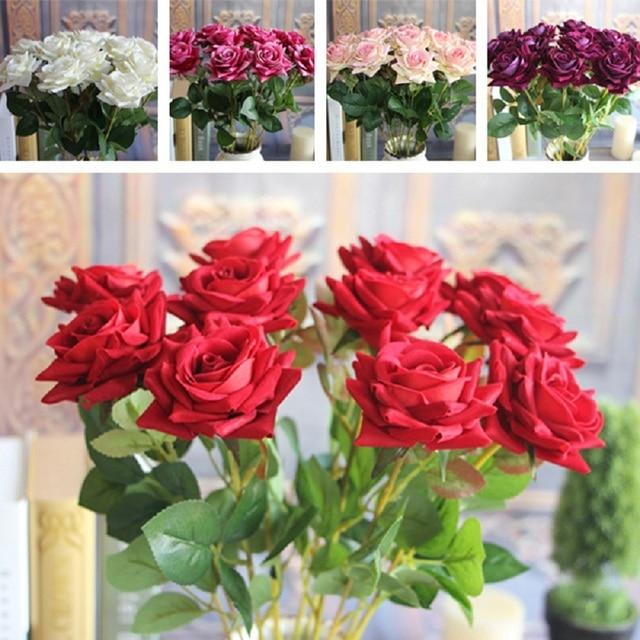 Red valentines mini velvet rose spring artificial fake flower red valentines mini velvet rose spring artificial fake flower arrangement bouquet room wedding hydrangea decor mightylinksfo