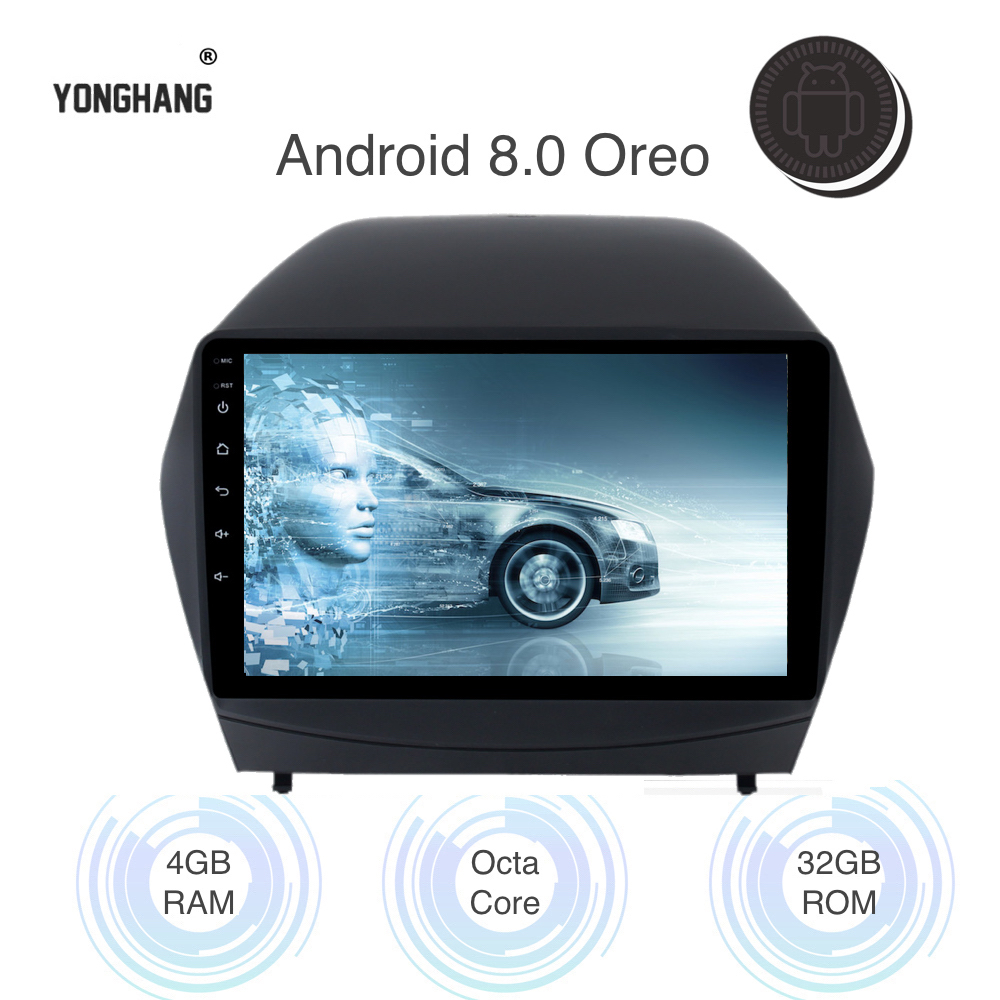 1 din Android 8.0/7.1 Car Radio Tape for Hyundai IX35 GPS Navigation 2010 2011 2012 2013 2014 2015 with 9 Touch Screen image