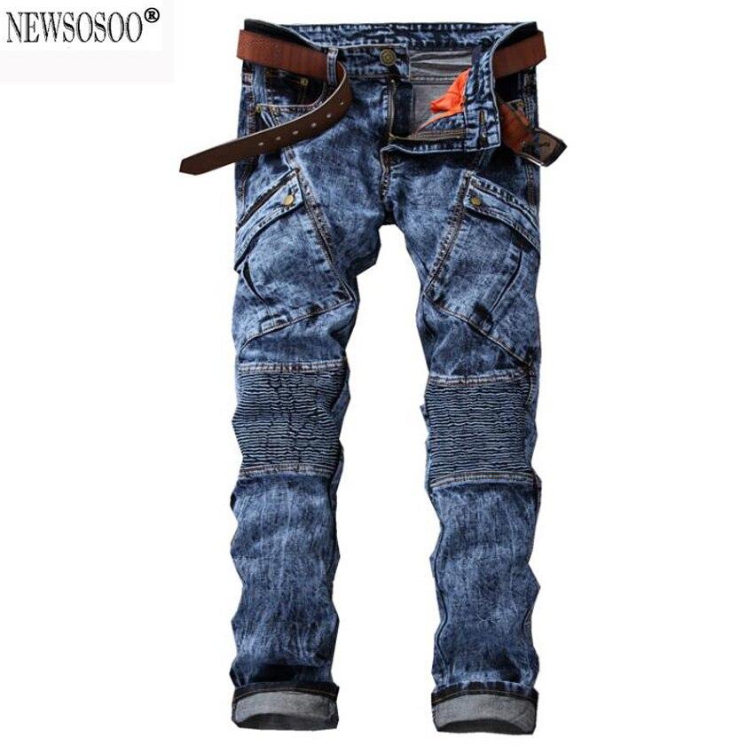 New Dropshipping Mens Biker Jeans Pants Multi Pocket Slim Fit Pleated Motorcycle Punk Denim Brand Designer Blue Homme Pants