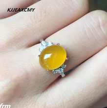 KJJEAXCMY Fine jewelry 925 sterling silver studded natural yellow chalcedony female ring wholesale live mouth