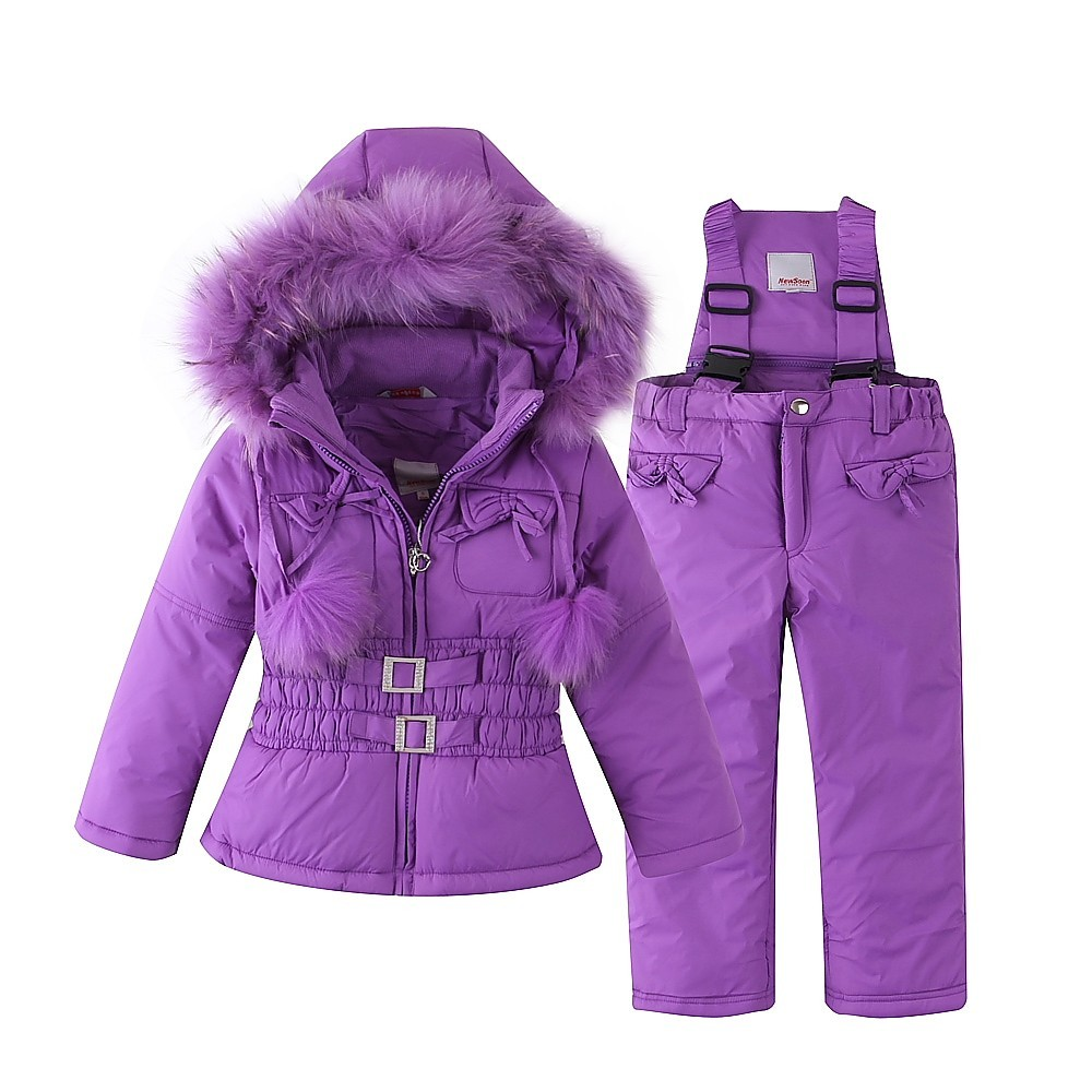 Mingkids Snowsuit Outdoor Ski Set for Baby Girl Winter Warm Snow Suit Waterproof Windproof Hooded Jacket Faux Fur with Ski-pants