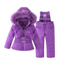 Mingkids Snowsuit Outdoor Ski Set for Baby Girl Winter Warm Snow Suit Waterproof Windproof Hooded Jacket Faux Fur with Ski pants
