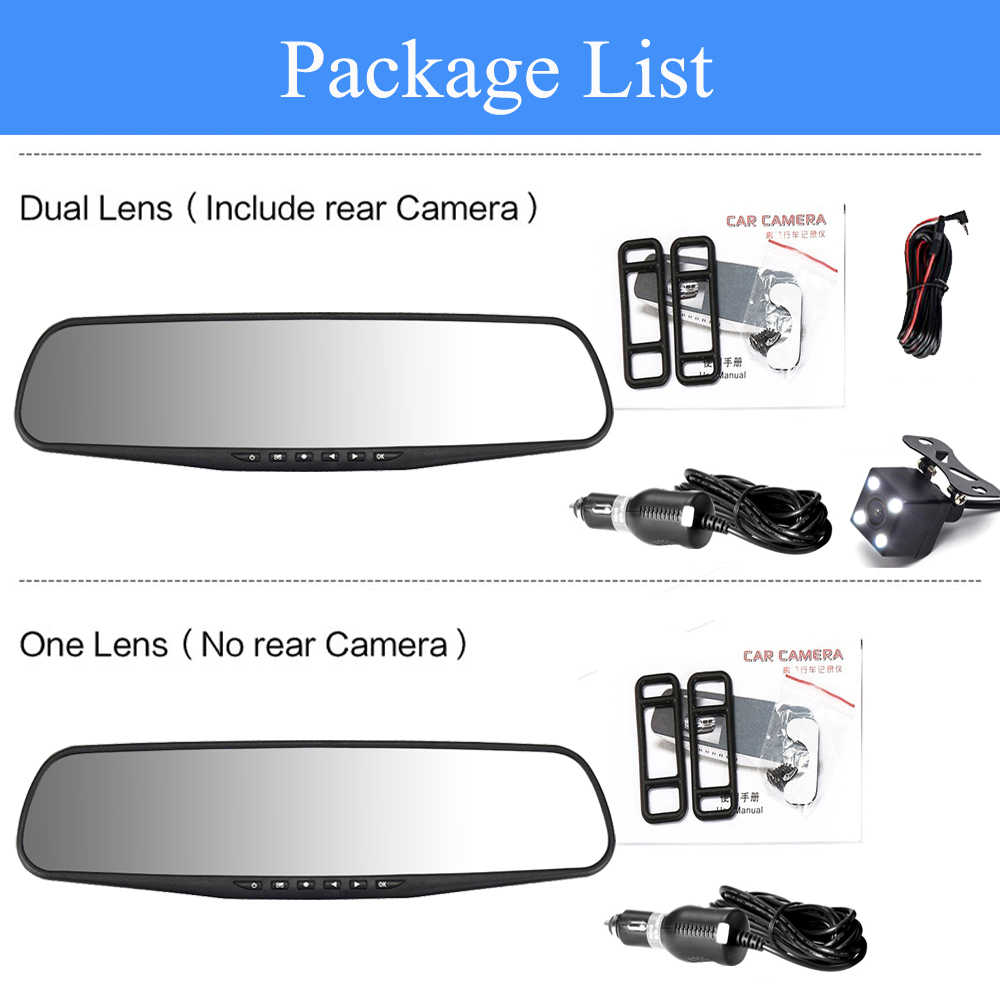 Автомобильный видеорегистратор с двумя линзами, автомобильная камера Full HD 1080P 4,3 дюймов, видеорегистратор заднего вида, зеркало заднего вида, видеорегистратор, видеорегистратор