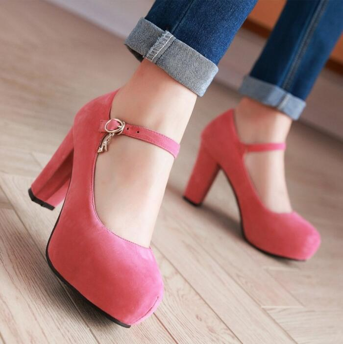 Zapatos Hauts black Bottes blue Femme red Pompes Filles Profonde pink Femmes Chunky Automne Mujer G61115 Mode Apricot Boucle Talons Chaussures Peu Laides Cheville rZgqrxP
