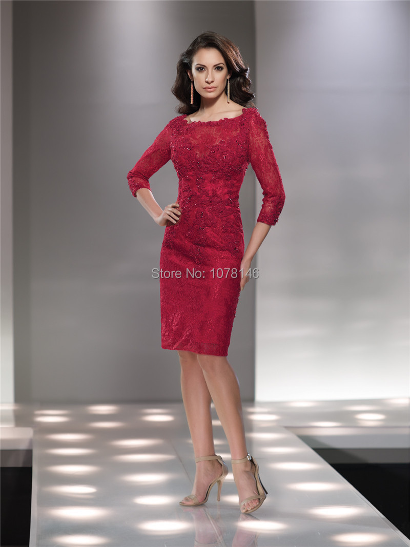 3 4 length lace dress in red