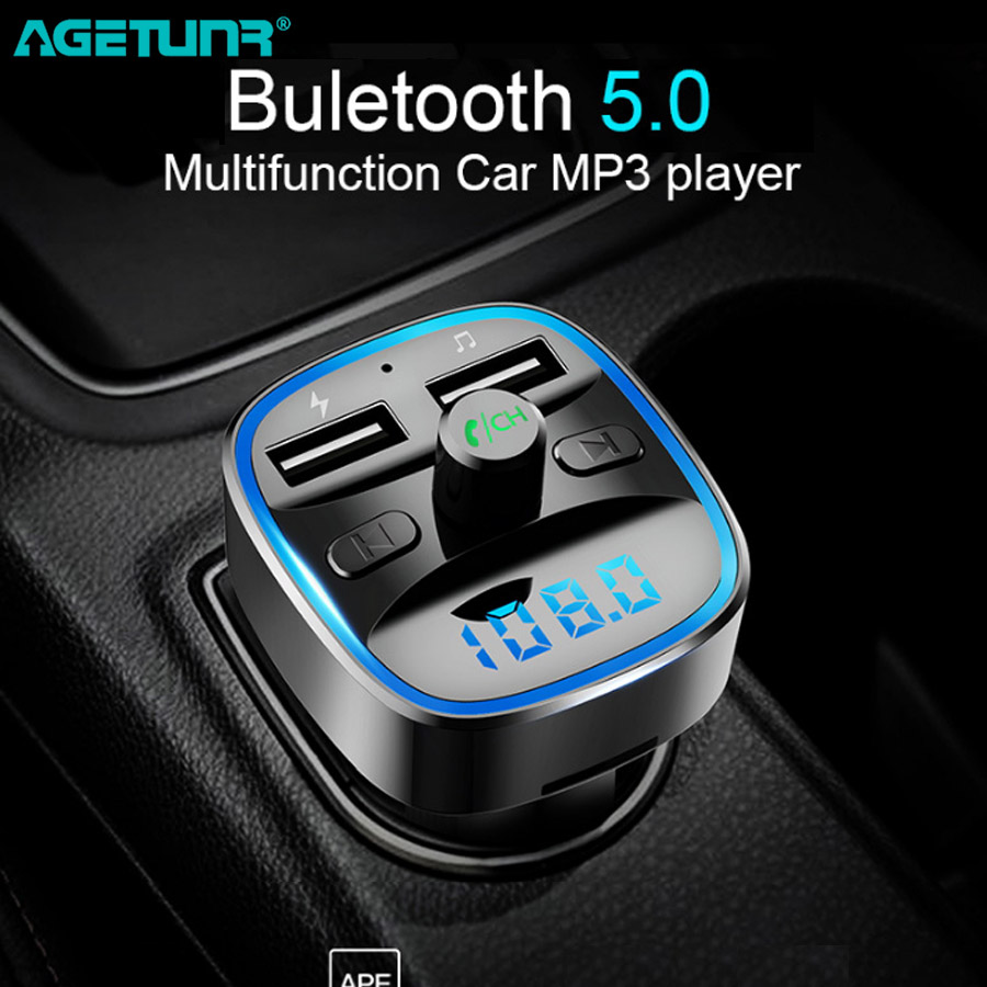 AGETUNR Car Mp3 Music Player Bluetooth 5.0 Receiver FM Transmitter Dual USB Car Charger U Disk & TF Card Lossless Music Player