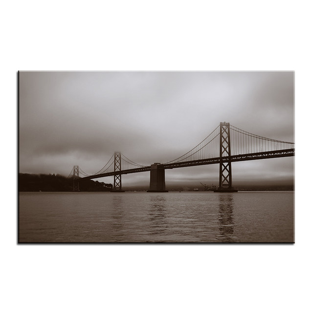 Large Size Printing Oil Painting Bay Bridge San Francisco Wall Painting  Decor Wall Art Picture For Living Room Painting No Frame