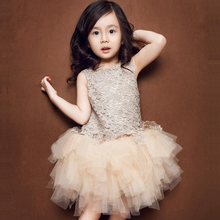 Childrens Dress 2018 Girls dress Summer New Lace Princess Vest Sleeveless Champagne 61 Performance Clothes