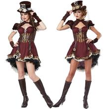 2016 New Adult Womens Sexy Halloween Party Circus Clown Costumes Outfit Fancy Steampunk Girl Cosplay Dresses Size M With Gloves