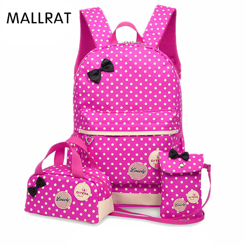 MALLRAT Backpack For Girls Teenagers School Bags 3 Pcs/Set Schoolbag Large Capacity Dot Printing School Rucksack Cute Book Bag delune new european children school bag for girls boys backpack cartoon mochila infantil large capacity orthopedic schoolbag