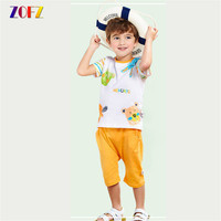 ZOFZ Kids Boy Clothes Brand Summer O Neck Print Cute Cartoon Solid Pants 2Pcs Set Summer