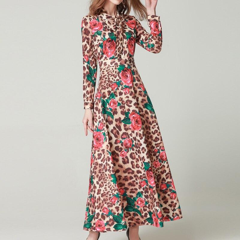 Hohe qualität Frühjahr/Sommer Fashion Runway Maxi kleid frauen Langarm Bogen Kragen Rose Leopard Print Vintage schlank lange kleid-in Kleider aus Damenbekleidung bei  Gruppe 1