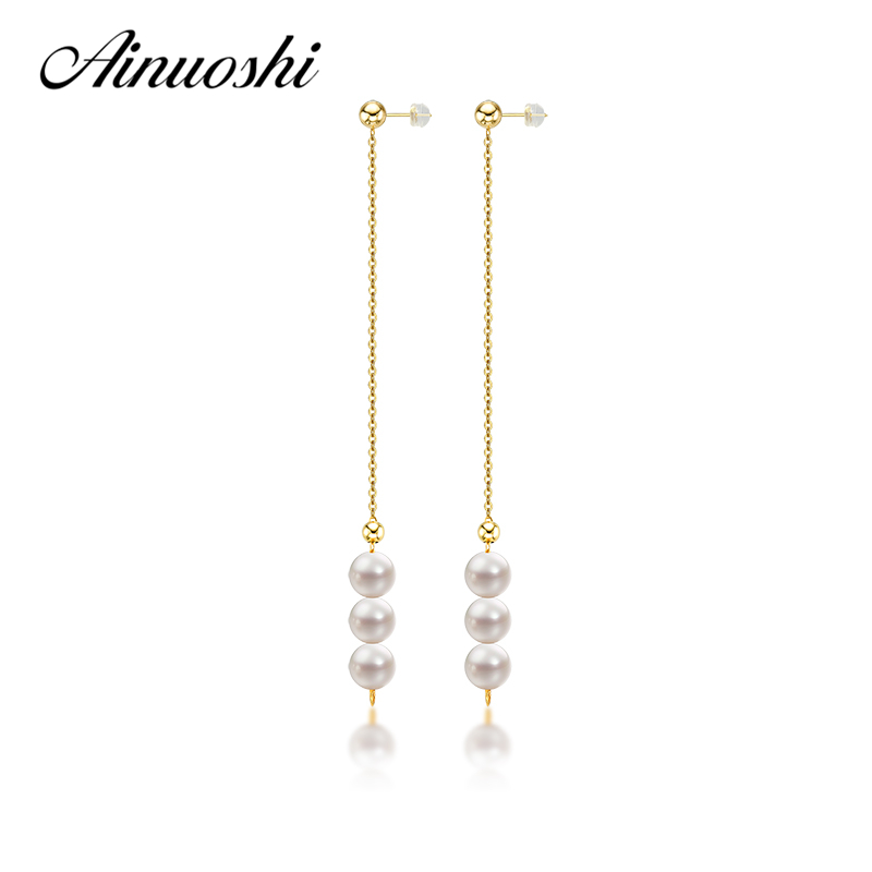 AINUOSHI 18K Yellow Gold Natural Cultured Freshwater Pearl Drop Dangle Earrings for Women 3 pcs Pears