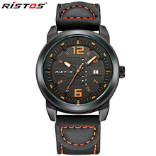 RISTOS Top Luxury Brand Date Leather Casual Watch Men Sports Watches Quartz Military Wrist Watch Male Clock Relogio Masculino
