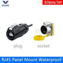 Panel Mount Assembly RJ45 CAT5E Female socket with Cover Waterproof plug Cable Connector Cnlinko screw lock 10 units