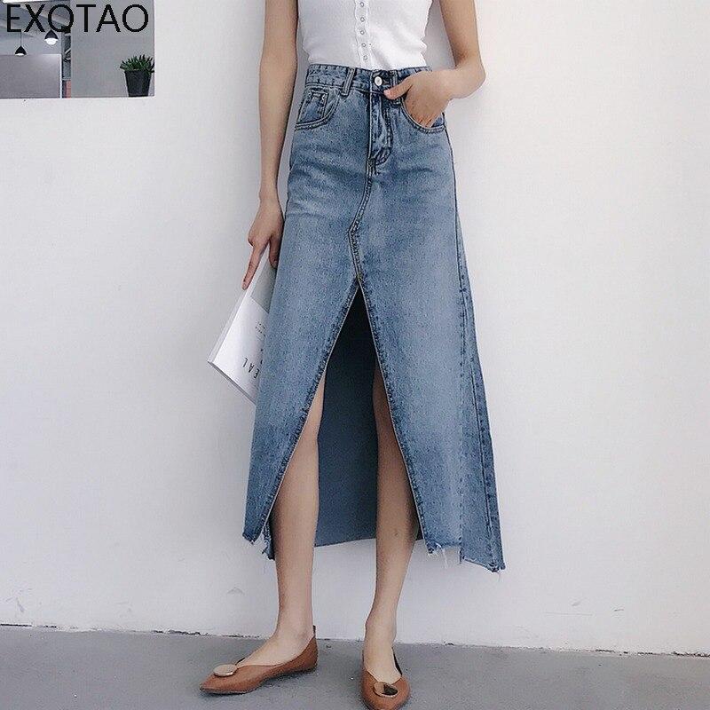 Exotao irregular meados de longo saia feminina cintura alta alta dividir chique a-line jeans saia sexy estiramento denim saias 2018 vintage