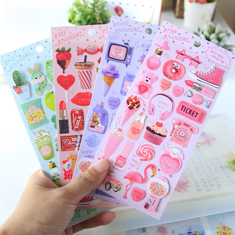 Pink Twinkle Car Lip Decorative Stationery Stickers Scrapbooking DIY Diary Album Stick Label