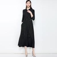 Офис леди черный работа платье Новый 2018 Полосатый Хлопок Женщины линия платье High End три четверти рукав отложной воротник платье