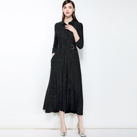 Office Lady Black Work Dress New 2018 Striped Cotton Women A Line Dress High End Three