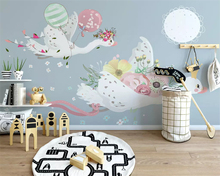 beibehang Custom silky papel de parede wallpaper Nordic modern minimalist hand-painted animal childrens room mural background