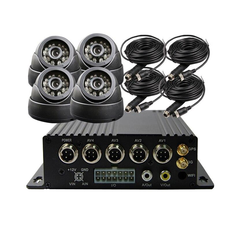 Free Shipping 4 CH 256G SD 3G GPS Track Car DVR H.264 I/O PC / Phone View Video Recorder + 4 x IR SONY CCD Dome CCTV Camera Kit
