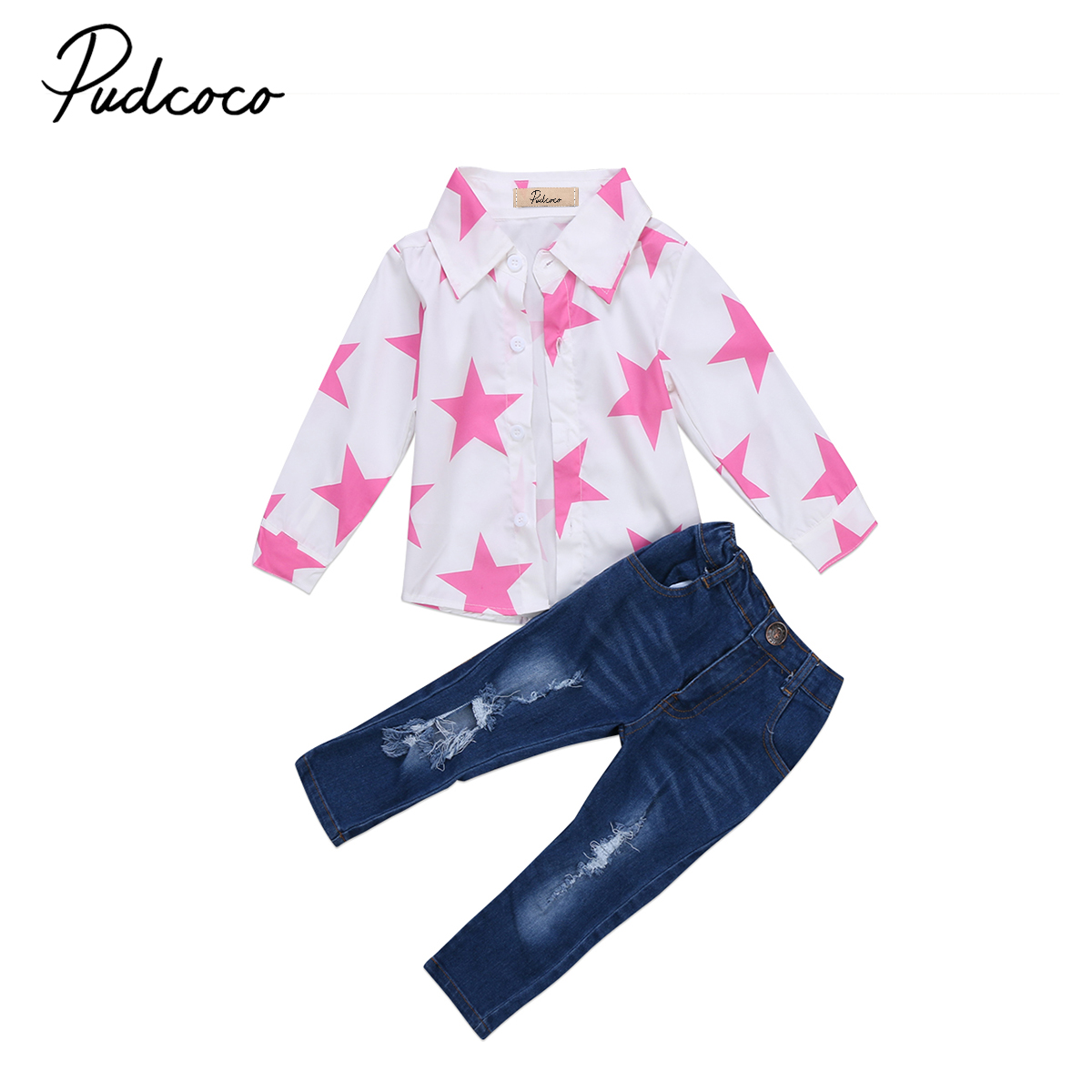 Fashion Toddler Kids Baby Girls Long Sleeve T-shirt Ripped Jeans Clothing Distressed Pant Star Print Shirt Outfit Set 0-7Y 2017 new fashion children girl clothes off shoulder long sleeve t shirt tops hole denim pant jeans 2pcs outfit kids clothing set