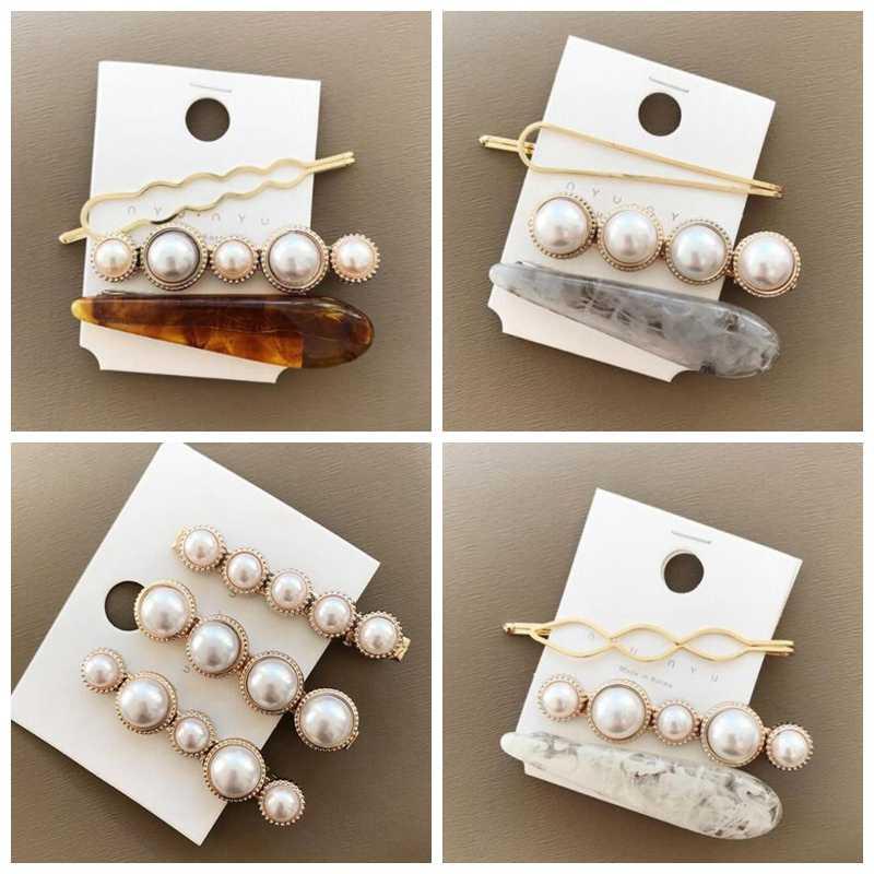 Hot Sale 3Pcs/set Pearl Hair Clip For Girls Geometric Elegent Women Barrettes Hairpins Bridal Wedding Hair Styling Accessories