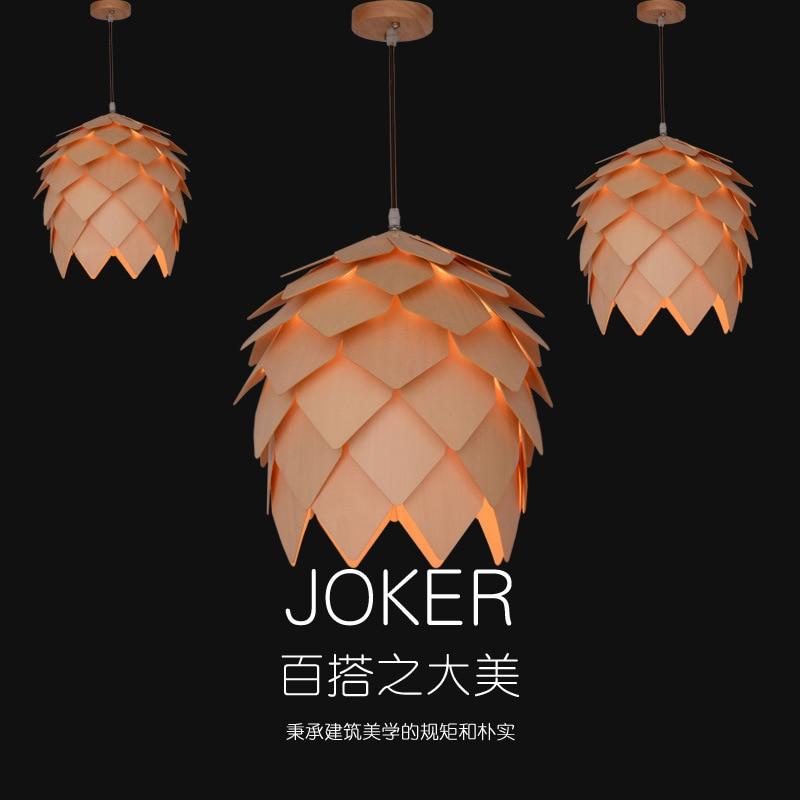 Japan Pinecone Pendant Lamps Modern Wooden PH Artichoke DIY IQ Elements Jigsaw Puzzle Bedroom Art Wood Lamparas Light все цены