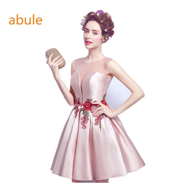 abule 2017 Robe De Soiree Simple Sleeveless Satin Short Bridesmaid Dresses  A-line Sexy Bride Party Gown Custom Formal Dress 17d01d43a