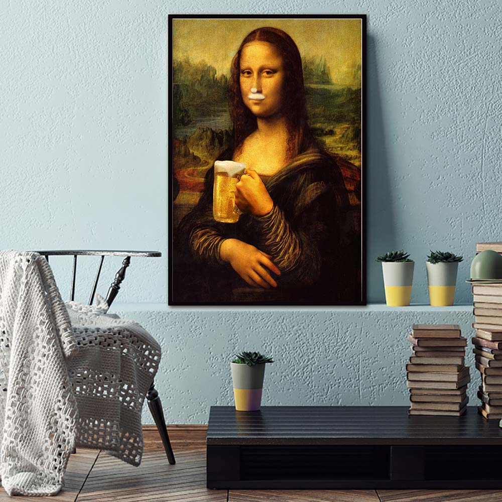 Nordic Style Minimalism Mona Lisa Poster Wall Art Canvas Prints Beer Painting Modular Pictures Living Room Modern Home Decor