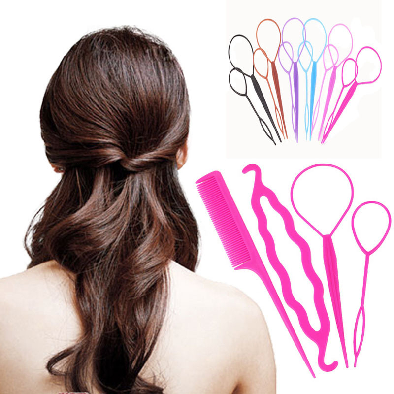 Fashion 4Pcs/Set Colorful Plastic DIY Styling Tools Pull Hair Clips Women Hairpins Comb Hair Bun Maker Twist 4pcs hair twist styling tools clip stick bun maker braid tools comb pull hair pins hair accessories hairdressing for women girls