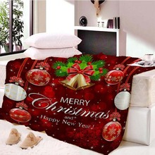 Christmas Decorations for Home Flannel Blanket Adult Joyous Printed Winter Soft Fluffy Dropship