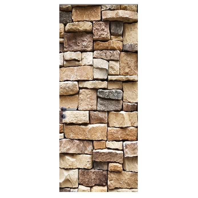 Image 4 - Vintage Bricks Wall Effect Broken Wall Retro Door Murals Wall Mural Door Decals Wall Door Stickers Wallpaper Mural Heart Printed-in Wall Stickers from Home & Garden