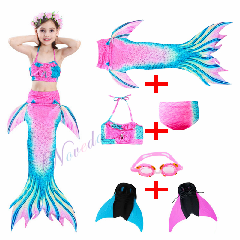 New 2019 Kids Girls Mermaid Tails with Fin Swimsuit Bikini Bathing Suit Dress for Girls With Flipper Monofin For Swim