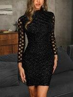 Весна 2019 для женщин платье, вечерний наряд черный с длинным рукавом пикантные элегантные женские Bodycon полые трапециевидной формы короткие п...