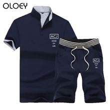 OLOEY sport suit men two piece set polo shirt & shorts short sportswear running fitness Casual male jogging