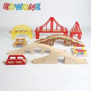 Image 5 - EDWONEติดตามไม้สะพานรถไฟอุปกรณ์เสริมของเล่นเพื่อการศึกษาอุโมงค์สะพานข้ามใช้งานร่วมกับไม้Track Biro