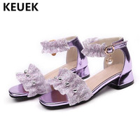 New Girls Sandals High heel Summer Shoes Princess Soft Leather Ruffles Children Gladiator Open Toe Fashion Party Kids Sandals 04
