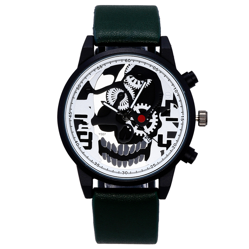 Vintage Steampunk Skull Personality Retro Men Watches Leather Strap Unique Dial Design Quartz Wrist Watch bayan kol saati montre femme retro design pu leather band green dial analog alloy quartz wrist watch bayan kol saati lady ladies wristwatches