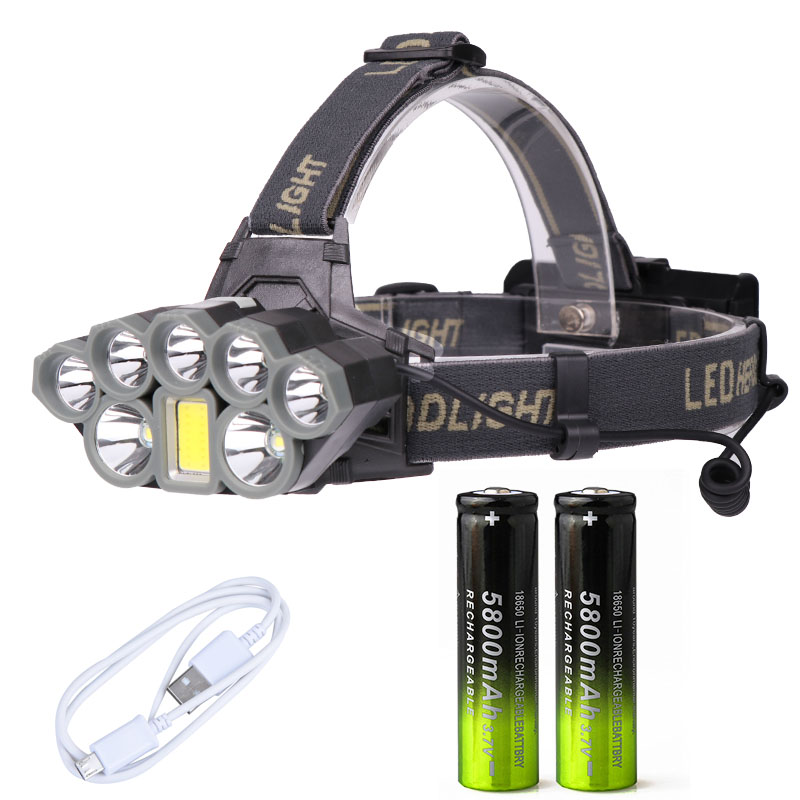 40000LM USB LED Headlamp Headlight Rechargeable 18650 Flashlight Head Lamp 8 Modes COB T6 Camping Fishing Hunting Light