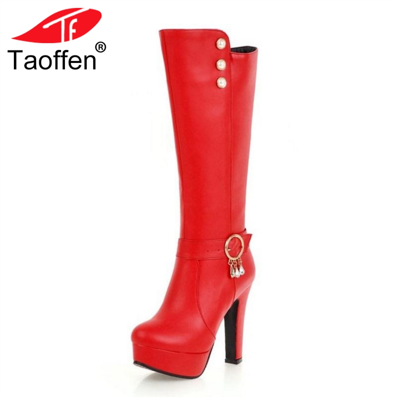 TAOFFEN Plus Size 32-48 Women Platform Knee High Boots Winter Rivets Warm Fur Shoes Woman Buckle Crystal High Heels Boots стоимость