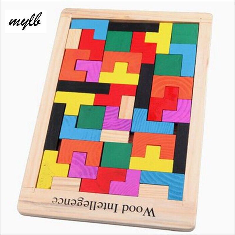 Mylb красочные деревянные Логические головоломка Танграм тетрис предварительно magination интеллектуальной Детская образовательная игрушка для...