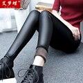 Moda Leggings De Couro Falso Plus Size 2015 Mulheres de Inverno Magro Velo Preto Forrado Leggings Grossas Quentes Calças De Couro Pu XXL
