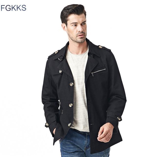 27210d77733 FGKKS Men Jacket Coat Long Section Fashion Trench Coat Jaqueta Masculina  Veste Homme Brand Casual Fit Overcoat Jacket Outerwear