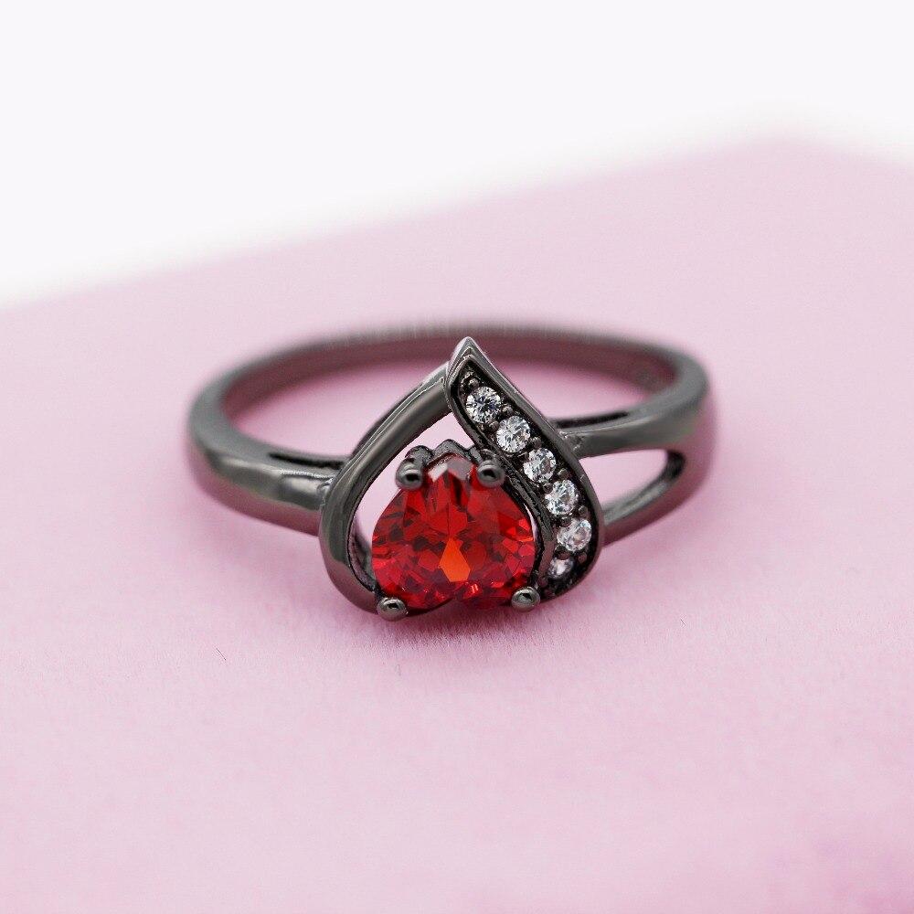 Almei Black Love Heart Rings For Women Engagement Ring Female ...