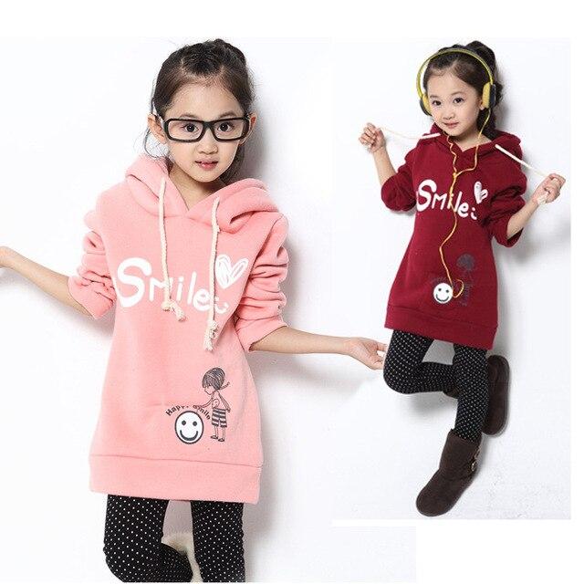 Бесплатная доставка детская clothing осень/зима 100% хлопка с длинным дизайн толстовка плюс бархат утолщение ватные девушка толстовка