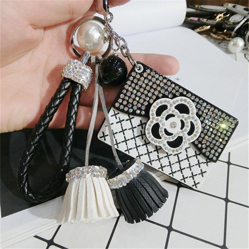 CX Shirling Camellia Flower Coat Handbag Fashioon Lady Pendant Tassel Keychain Luxurious cc Keychain Car Handbag