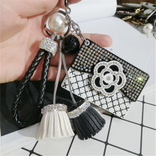 CX-Shirling Camellia Flower Coat Handbag Fashioon Lady Pendant Tassel Keychain Luxurious cc Keychain Car Handbag Accessories