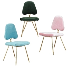 лучшая цена Scandinavian modern minimalist hotel restaurant chair modern dressing chair golden meeting chair